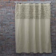 Ruffled Washed Linen Bath Curtains