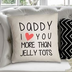 Personalised Heavy Cotton Cushion Cover - Daddy I Heart You More Than