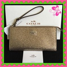 """Authentic Coach Large Clutch/Wristlet % AUTHENTIC✨ Stunning zipped gold large clutch / wallet / wristlet from Coach!  Length 8"""" Height is almost 4 1/2"""" Width 1"""" ( iPhone 6s Plus will fit in here ) Lots of space for your cash and cards. Exterior back zipped compartment. New w/ tag! NO TRADE  PRICE IS FIRM‼️ Coach Bags Clutches & Wristlets"""
