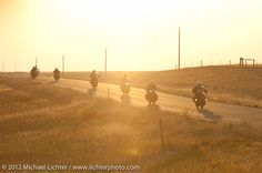 Early morning riding to the Badlands. Motorcycle Cannonball II pre-1930 Coast-to-Coast Endurance Run. Stage 7 - Murdo, SD to Sturgis, SD. USA. September 13, 2012. Photography ©2012 Michael Lichter.