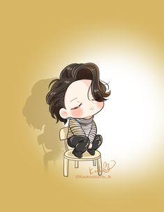 Jungkook Fanart, Jimin Fanart, Jungkook Cute, Bts Suga, Bts Chibi, Chibi Wallpaper, Iphone Wallpaper, Cute Little Drawings, Kpop Drawings