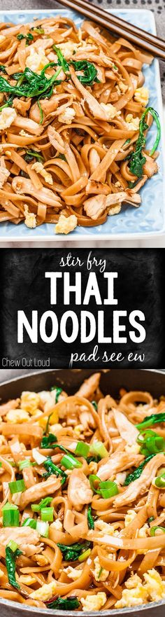 Stir Fry Thai Noodles (Pad See Ew) is so easy to make at home and you'll love how healthy and delicious it is! #asian #dinner