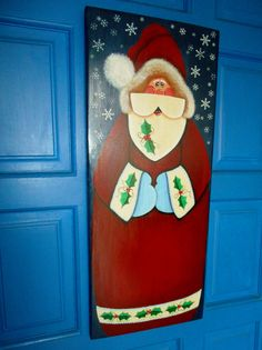 Santa Plaque, Christmas Decorating, Door Decoration, Holiday Wall Hanging, Hand Painted Plaque by kathleenmelville1 on Etsy