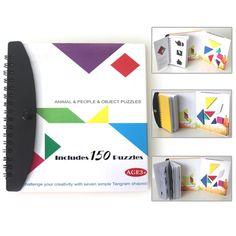150 Libro Magnético del Rompecabezas Tangram Juguetes Montessori Desafío IQ Libro Educativo para Los Niños Regalo de Los Niños