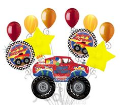 Monster Truck Happy Birthday Balloon Bouquet