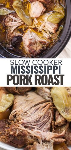 This easy recipe for slow cooker Mississippi Pork Roast is a great alternative to beef pot roast. It can be made in your crock pot, instant pot. It's made with simple ingredients and is a great way to spice up a weeknight dinner. Use it in tacos, burritos, or put it on top of mashed potatoes or mashed cauliflower. While it's naturally low carb, Whole30 & Paleo options are included! Pork Pot Roast, Slow Cooker Pork Roast, Pork Roast Recipes, Slow Cooker Recipes, Low Carb Pork Roast Recipe, Pork Loin Crock Pot, Pressure Cooker Pot Roast, Low Carb Slow Cooker, Pig Roast