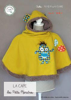 Patron numérique de cape/ poncho pour bébé/ enfant ( taille 9/12 mois à 4/5 ans). Fourrée et avec sa capuche bien couvrante, elle est idéale pour le portage, tandis que les plus grands apprécieront son confort et son design rigolo. De plus, ils peuvent la mettre et l'enlever tout seul, ce qui est un plus pour l'apprentissage de l'autonomie. Sont inclus dans ce patron : la cape et sa capuche, les gabarits du petit monstre, 2 sortes de poches ventrales ( dont une type