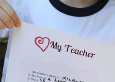 Looking for a special teacher appreciation gift? Find a free All About My Teacher printable to ask your child about their teacher. Thank a teacher today! Teacher Name, Great Teacher Gifts, Your Teacher, School Teacher, Student Teacher, Student Gifts, Fun Gifts, Teacher Stuff, Teacher Questionnaire