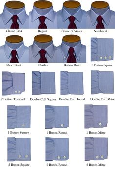 Turnbull & Asser - Collars and Cuffs #collars #cuffs #infographic #menstyle