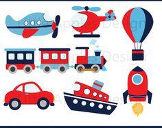 Transporte Clip Art Clipart con coche camión tren by PinkPueblo | Etsy