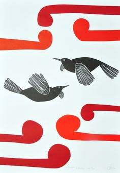 Annie Smits Sandano Title: 'Kokowhai Rauponga with Tuis' Medium: Limited edition wood cut print Dimensions: 700 mm x 500 mm Number of prints in edition: 200 New Zealand Art, Jr Art, Art Diary, Maori Art, Kiwiana, Bird Prints, Print Artist, Letterpress, Art Lessons