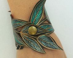 Leaf Cuff, Turquoise Leaf Bracelet, Faux Leather Hand Painted, Handmade Jewelry, Leaf Jewelry, Leather Cuff, Gifts for her