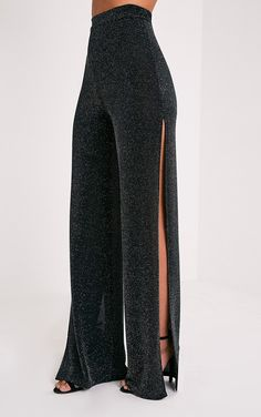 Darsee Black Lurex Side Split Trousers Image 4