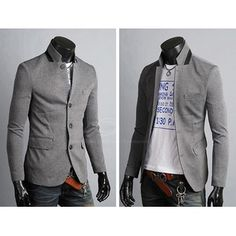 Mens Blazers -New Arrival Slimming Stand Collar Solid Color Long Sleeves Cotton Blend Blazer For Men