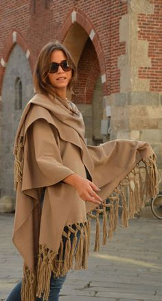 Walking with style in Monza, wearing our cape! #marinafinzi #MadeinItaly #fallwinter2015