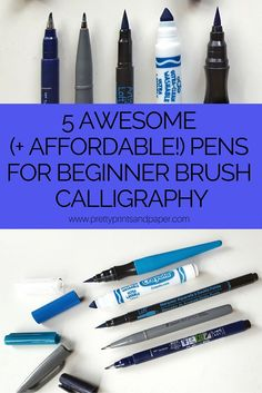 5 awesome beginner pens for brush calligraphy - that AREN'T a Tombow Dual Brush Pen!out 5 awesome beginner pens for brush calligraphy - that AREN'T a Tombow Dual Brush Pen! How To Write Calligraphy, Calligraphy Letters, Typography Letters, Modern Calligraphy, Beginning Calligraphy, Crayola Calligraphy, Calligraphy Markers, Pretty Writing, Fancy Writing