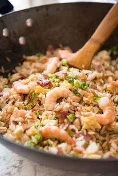 Low FODMAP Recipe and Gluten Free Recipe - Special fried rice with shrimp & bacon Chinese Shrimp Recipes, Shrimp And Rice Recipes, Asian Recipes, Chinese Shrimp Fried Rice, Fried Rice Recipe Chinese, Prawn Fried Rice, Oriental Recipes, Vietnamese Recipes, Making Fried Rice