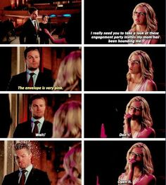 """The envelope is very pink"" - Oliver and Felicity #Arrow ((Pink... with a small surprise inside, haha!!))"