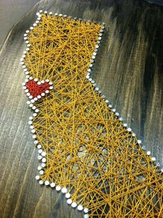 California state string art sf gold and red bay area love 9x12 painted wall art distressed black golden state