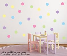 5 Pastel Colored Polka Dot Wall Decals   Set includes 35 total 5 dots   Colors include: Lt Pink, Lt Purple, Lt Blue, Lt Green, & Lt Yellow