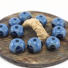 Pretty nautical ⚓ beads 😋 #etsy #etsystudio #nautical #beads #ceramics #pottery #handmade #jewelrymaking #pottery