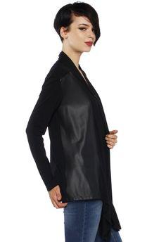 LT642 - Faux-Leather Cardigan - Faux-Leather Cardigan