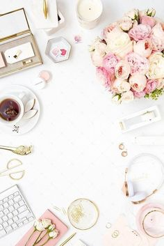 Blush pink and gold desktop styled stock photography for creative businesses. Premium styled stock from the SC Stockshop. Phone Backgrounds, Wallpaper Backgrounds, Iphone Wallpaper, Pink And Gold, Blush Pink, Pink Desk, Gold Desk, Flat Lay Photography, Flatlay Styling