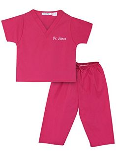 Personalized Scrubs for Children Size 2T Hot Pink