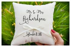 Personalized ring bearer pillow, wedding pillow, wedding cushion Customizable Personalized wedding Ring Pillows , Ring pillow is made from white cotton Pillows are custom made for each wedding. Pillow measures on the photo is about 7 X 7 inches Size available : *7x7 inch *9x9 inch ( If you want a different size please contact us) When ordering, please give me the following: * Last Name * Wedding date * Ribbon color ********** Please take a look at my other etsy shop*********** you will...