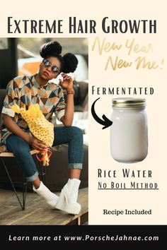 Extreme Hair Growth: Rice Water (No Boil Method) - PorscheJahnae Rice Water Benefits, Hair Places, Extreme Hair Growth, Natural Hair Treatments, New Year New Me, Black Pigment, Curl Pattern, Hair Regimen, Hair Shampoo