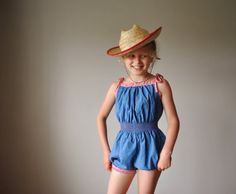 1960s Country blue & gingham Summer romper size by salvagehouse