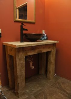 Bathroom Vanities Rustic photo of front view - rustic bathroom vanity: rustic bathroom