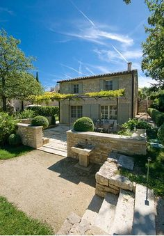 French Villa for Rent - Home Bunch - An Interior Design & Luxury Homes Blog// apparently that's called a pergola extending from back of house over patio. Think i need one.