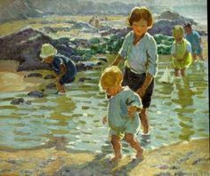 Paddling in the Shallows .. oil on canvas .. Dorothea Sharp