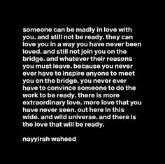someone can be madly in love with you and still not be ready Ptsd Quotes, Me Quotes, Woman Quotes, Greys Anatomy, Never Been Loved, Emotionally Unavailable, Love You, Let It Be, Madly In Love