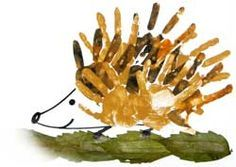 Yet another pin not in English but so easy and cute this perfect Fall Porcupine craft is self explanitory !   egel van handjes