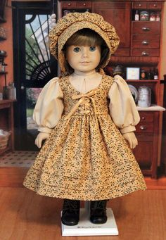 Dirndl Style Prairie Dress in gold/tan and Bonnet by BabiesArtUs on Etsy   $69.00