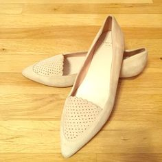 """Cole Haan """"Allison"""" pointed flats Cole Haan """"Allison"""" skim perforated pointed toe suede flats. 0.5in stacked heel. Perforated panel with scallop trim. Padded footbed. Rubber sole. Color: Canyon Rose (light tan/cream) -- pictures don't do this classy shoe justice! Cole Haan Shoes Flats & Loafers"""