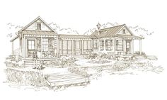 Our Town Plans, 852 sf guest cottage -- features 2 bedrooms with Master Baths, each with small closet and each with small galley kitchen, connected by common large screened porch. Small Cottages, Beach Cottages, Cute Small Houses, Tiny Houses, Guest Houses, Tiny House Village, Our Town, Tiny House Living, River House