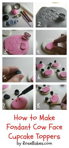 Fondant Cow Face Cupcake Toppers