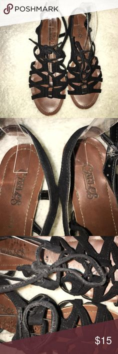 Carlos Santana caged sandals Used soles and the laces have some wear but the top looks great!  See photos for signs of wear! Carlos Santana Shoes Sandals