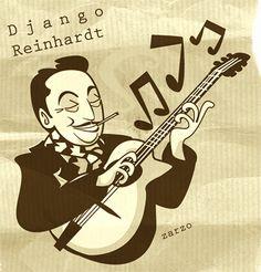 My Django, not so smooth ; Django Reinhardt, Gypsy Jazz, Rockabilly Cars, Jazz Art, Funny Caricatures, Spanish Art, Guitar Players, Guitar Art, Jazz Blues