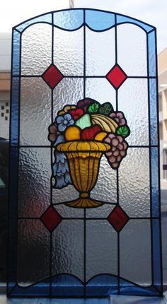 Puerta De Paso Con Cesta De Frutas Y Flores Glass Art