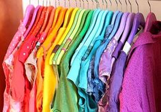 rainbow closet....I tried this technique to graze my closet. Unfortunately I'm not organized enough to keep looking pretty and working for me