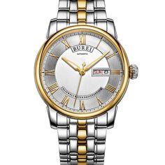 BUREI Vintage Men's Automatic Mechanical Stainless Steel Wrist Watch Date Week #BUREI #Casual
