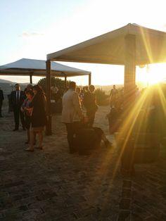 At sunset, gazebo terrace