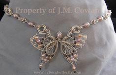 Pink Pearl Butterfly Choker by cyborgbutterfly.deviantart.com on @deviantART