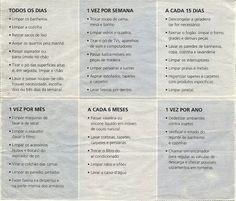 Lista de tarefas domésticas.