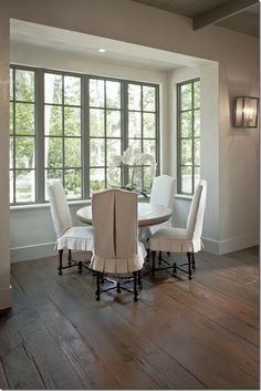 Bay Window Ideas - Bay window ideas for window seats, bay window decoration, and furnishings positioning around a bay window. Dining Chair Slipcovers, Dining Chairs, Club Chairs, Room Chairs, Dining Room Chair Covers, Ikea Chairs, Kitchen Chairs, Bar Chairs, Fresh Farmhouse