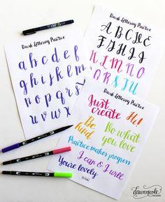 10 planilhas Prática rotulação da mão |  www.bydawnnicole.com                                                                                                                                                                                 Mais